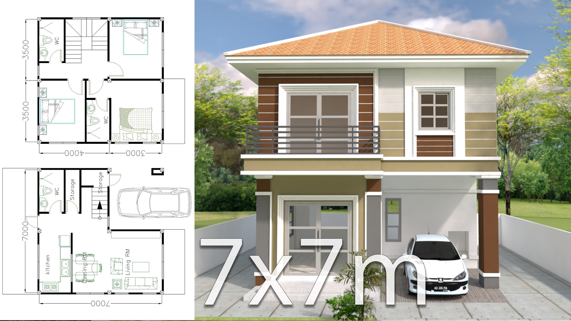 House Plans 7x7m with 3 Bedrooms - SamHousePlans