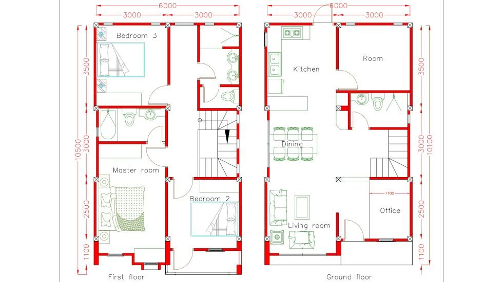 Home design plan 6x10m