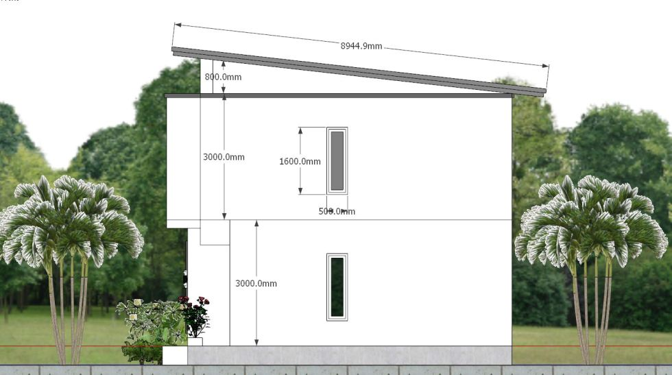 House Plan 6.5x7.5M with 2 Bedrooms right 2