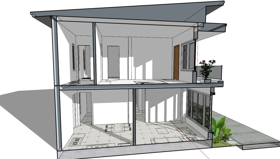 House Plan 6.5x7.5M with 2 Bedrooms section 2