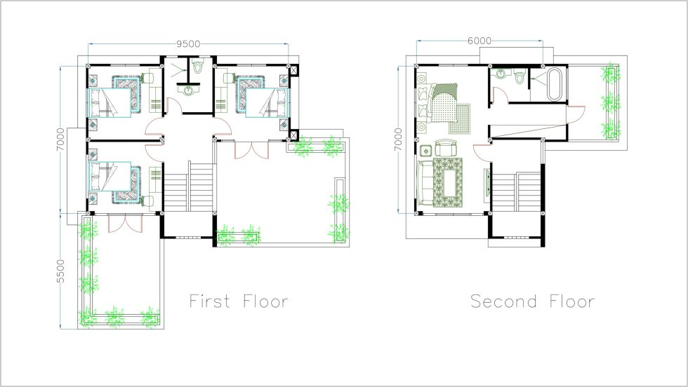 House Plans 11x12m with 4 Bedrooms First and secondfloor