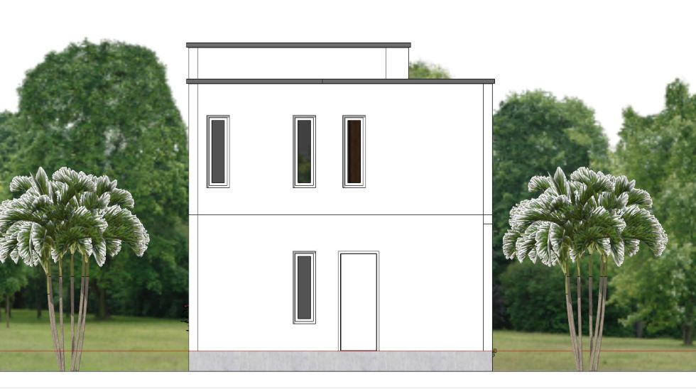 House Plans 6.5x7.5M with 2 Bedrooms back