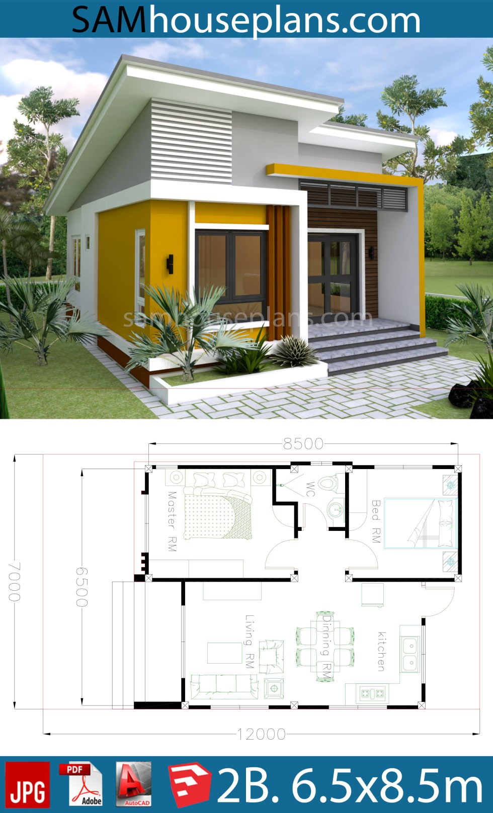 House Plans 6.5x8.5m with 2 Bedrooms - SamHousePlans