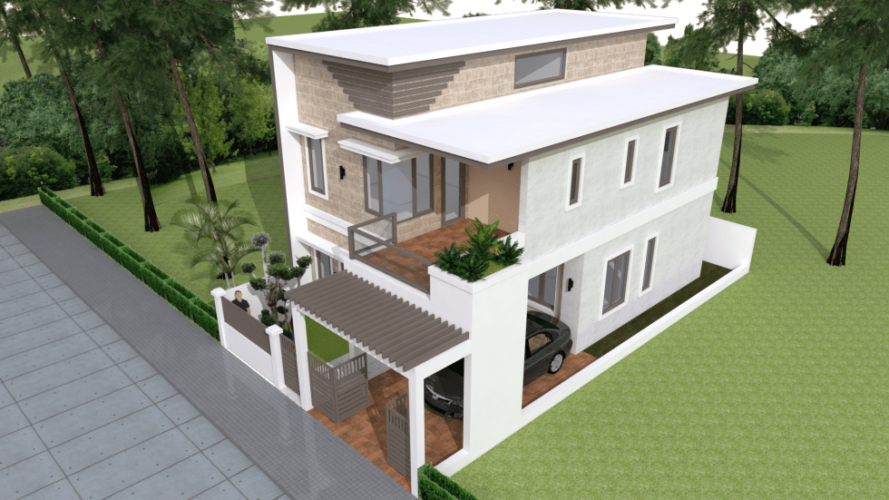 House Plans 7x12m with 4 Bedrooms Plot 8x15 terrace roof