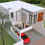 House Plans 7x13m with 3 Bedrooms roof 3d