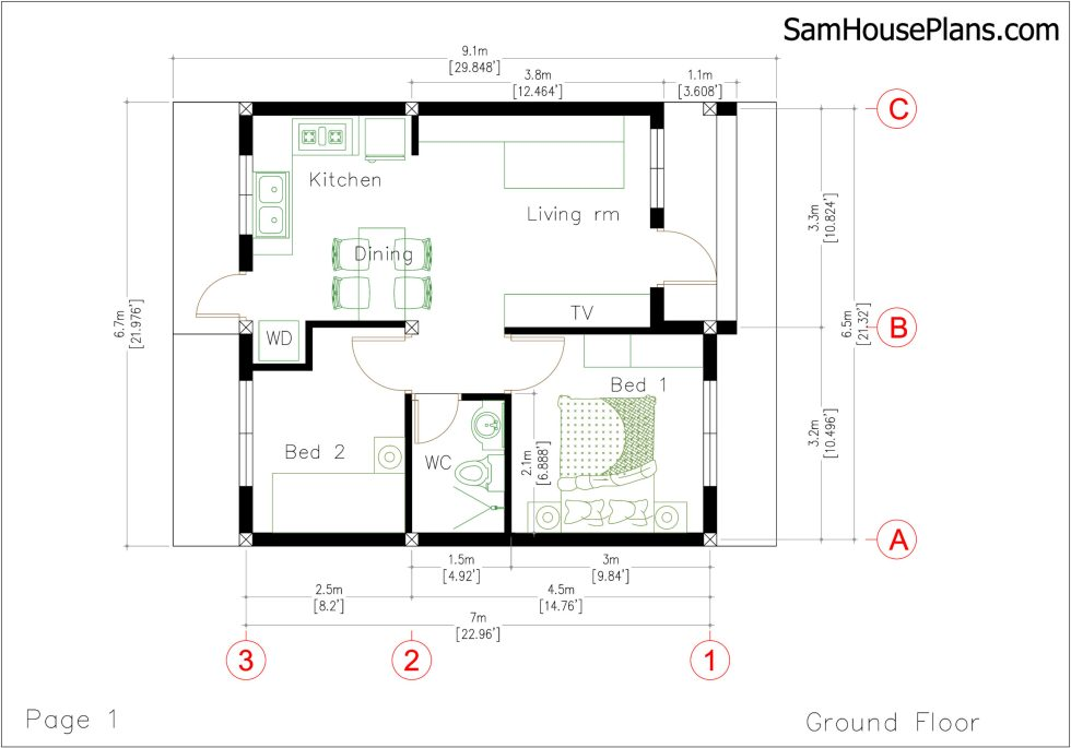 House Plans with Two Bedrooms 22x30 Feet