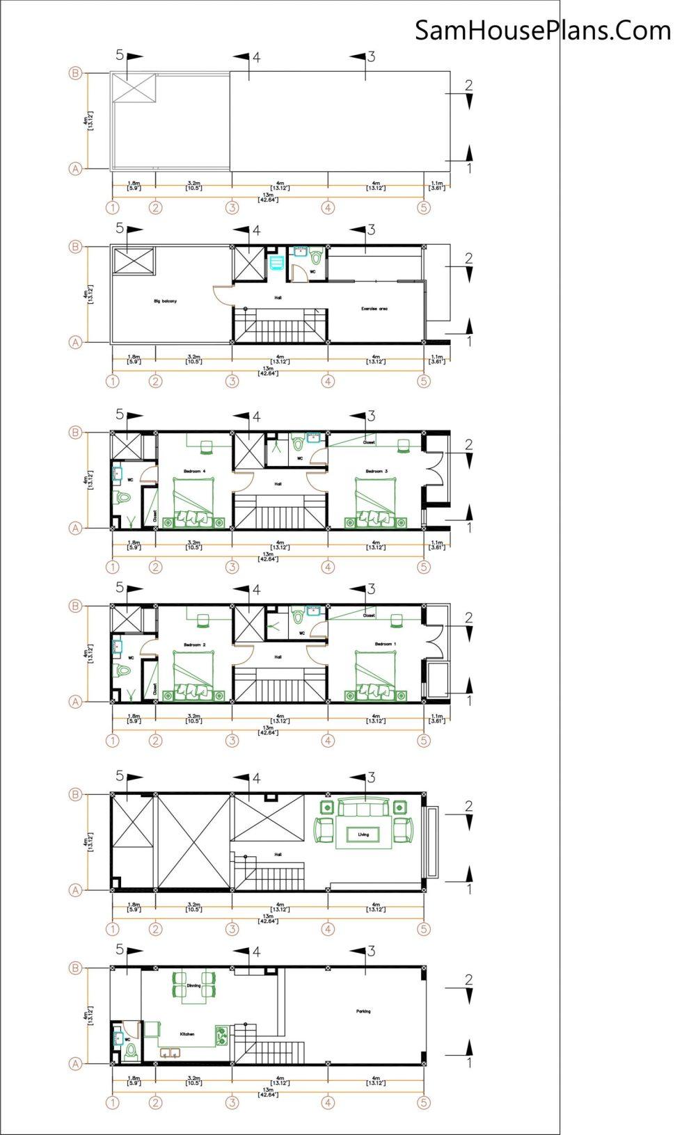 Narrow House Plans 4x13 M 13x43 Feet 4 bedrooms layout floor plan