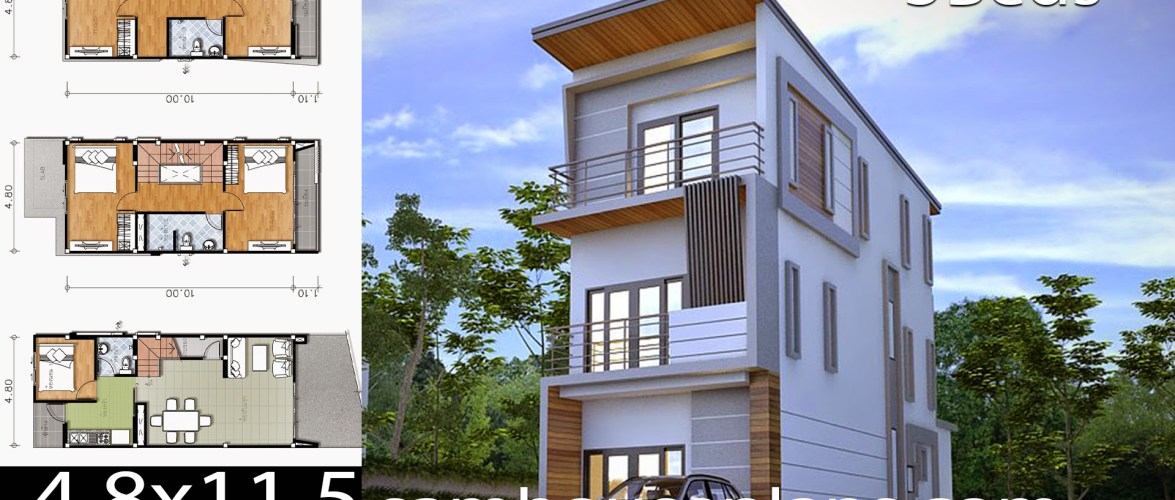 House Plans 4.8×11.5 with 5 Bedrooms