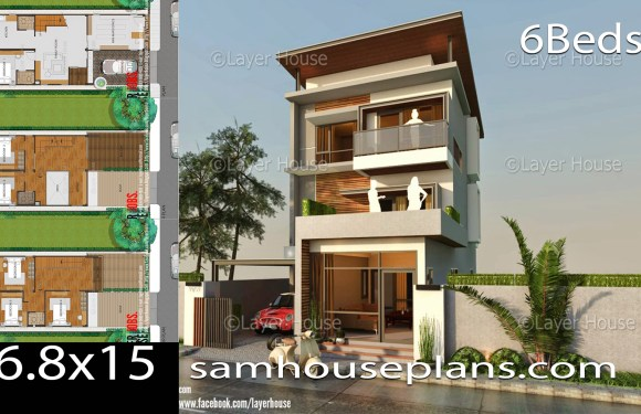 House Plans 6.8×15 with 3 Bedrooms