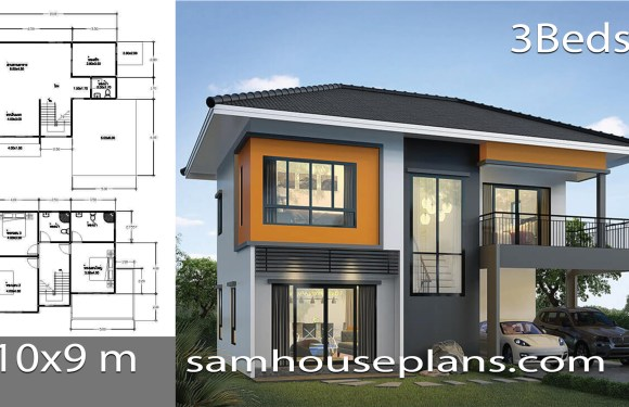 House Plans Idea 10x9m with 3 Bedrooms
