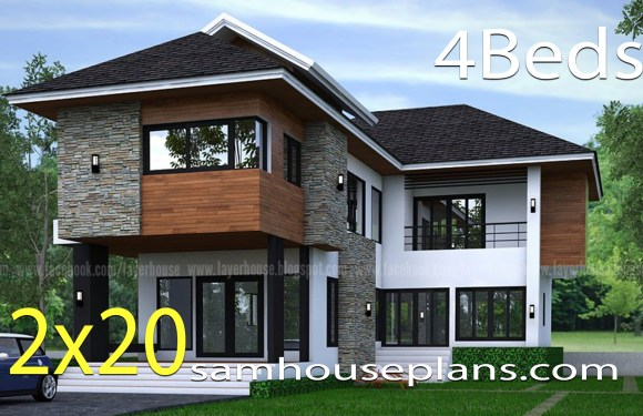 House Plans Idea 12×20 m with 4 bedrooms
