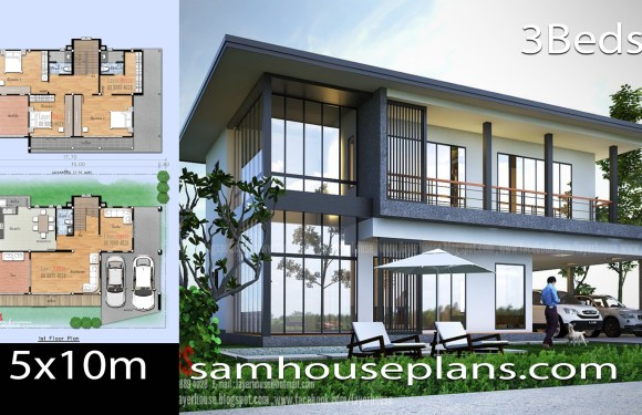 House Plans Idea 15x10m with 3 bedrooms