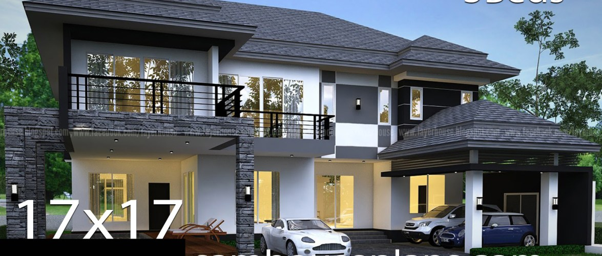 House Plans Idea 17x17m with 5 bedrooms