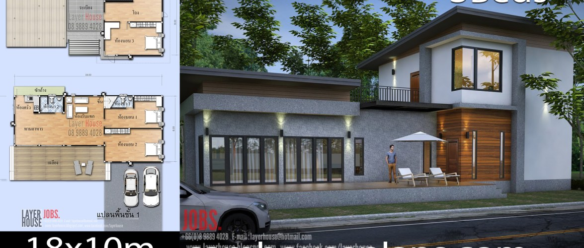 House Plans Idea 18x10m with 3 Bedrooms