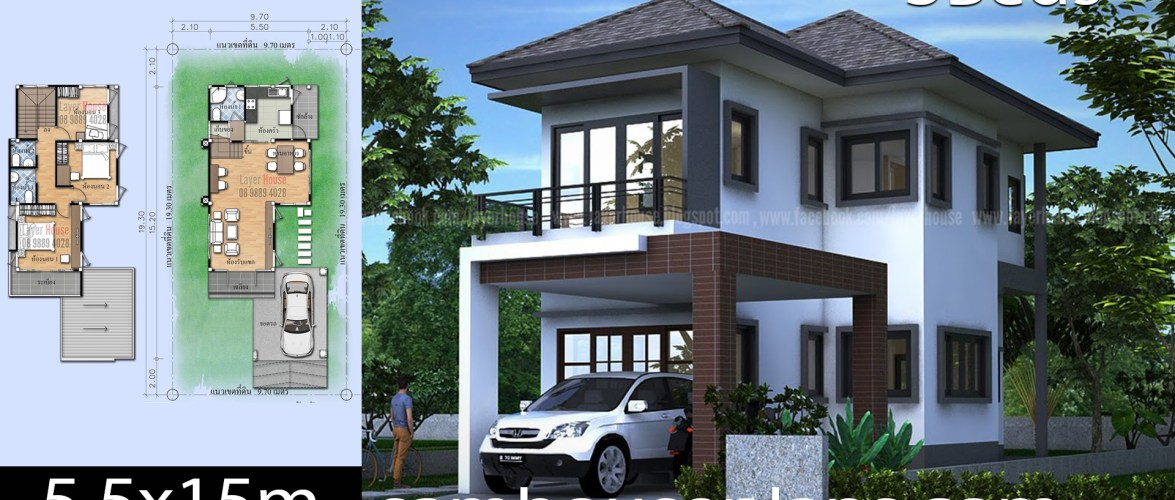 House Plans Idea 5.5x15m with 3 Bedrooms