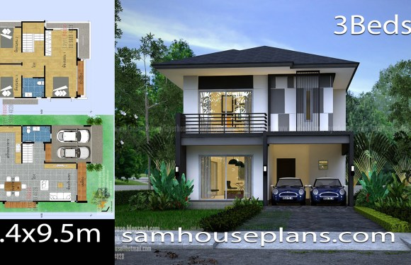 House Plans Idea 7.4×9.5m with 3 Bedrooms