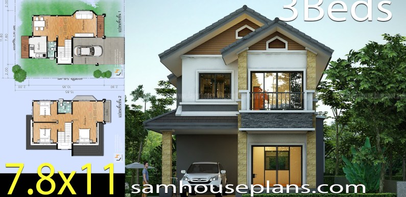 House Plans Idea 7.8×11 m with 3 bedrooms