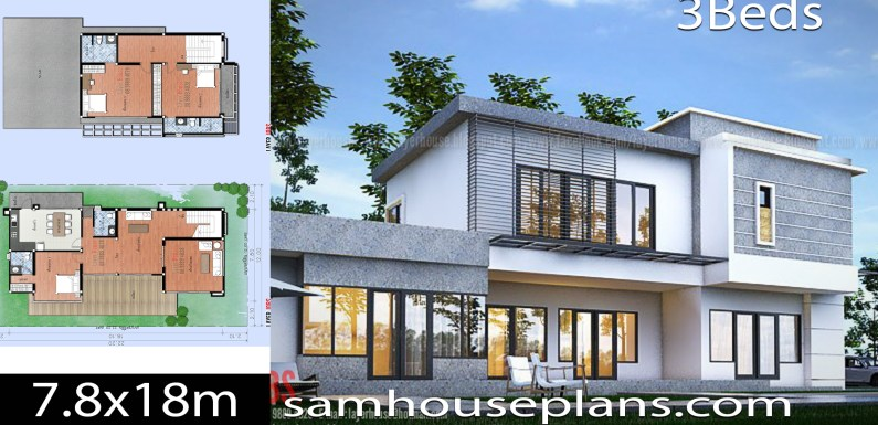 House Plans Idea 7.8x18m with 3 Bedrooms