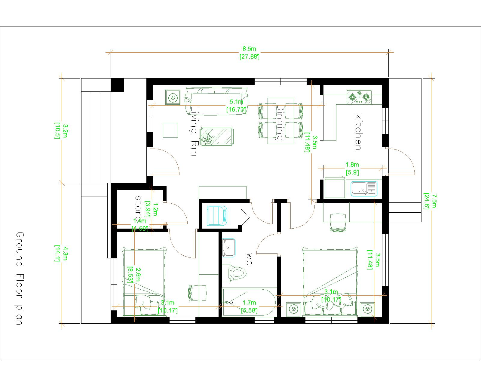 House plans 7.5x8.5m with 2 bedrooms 25x29 Feet Layout floor plan
