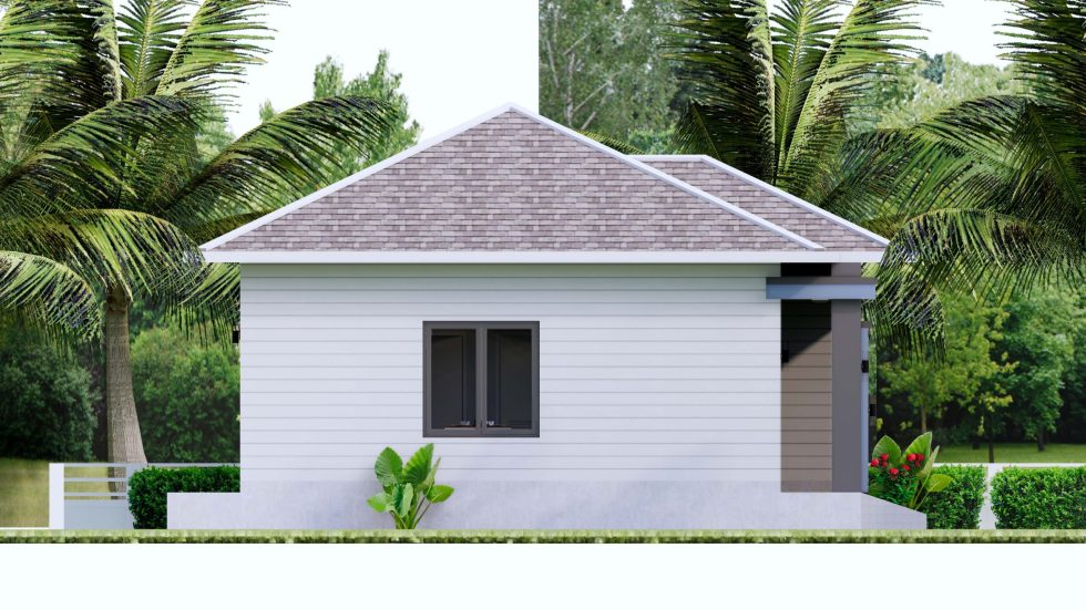 House plans 7.5x8.5m with 2 bedrooms Left