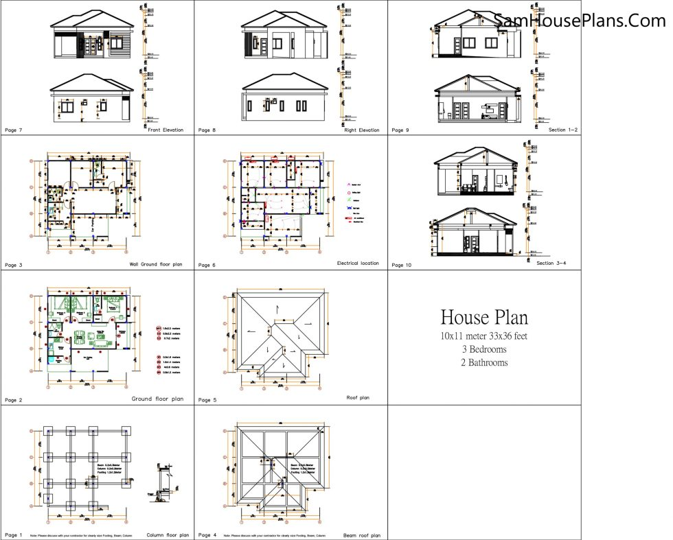 House Plans 10x11 with 3 Bedrooms Roof tiles all Layout floor plan
