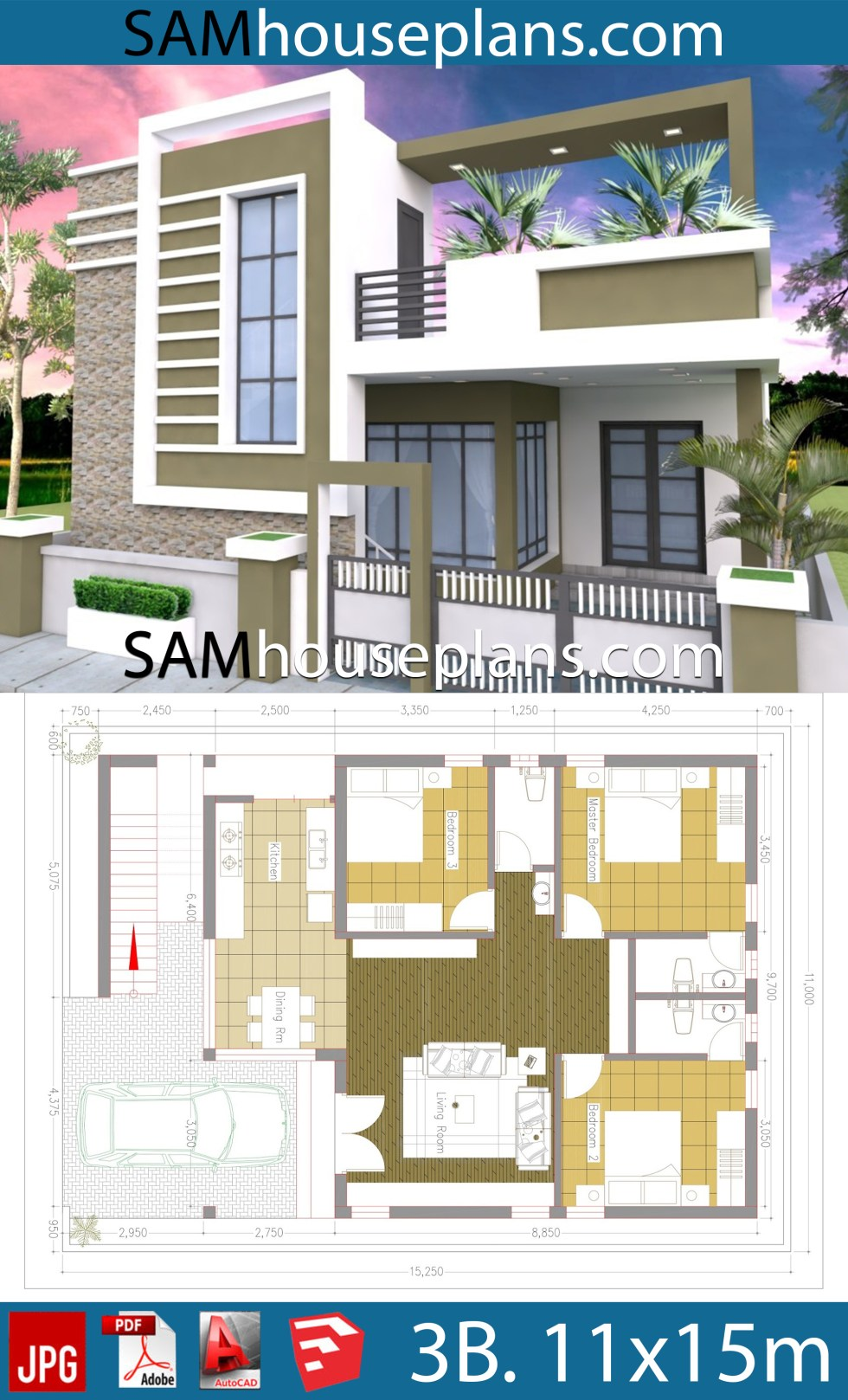 House Plans 11x15 with 3 Bedrooms
