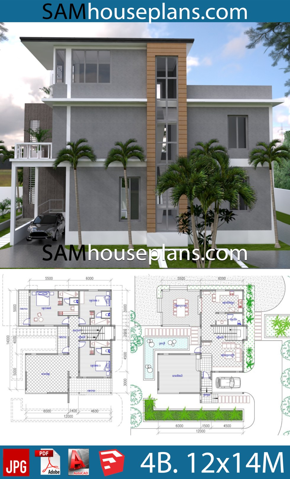 House Plans 12x14 with 4 Bedrooms