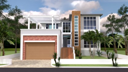 House Plans 13x19 with 4 Bedrooms 3d 1