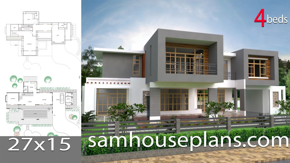 House Plans 27x15 with 4 Bedrooms