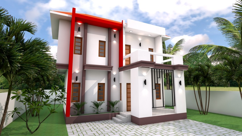 House Plans 8x7 with 2 Bedrooms 3d