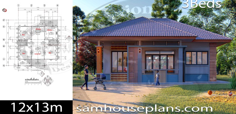 House Plans Idea 12×14 with 3 Bedrooms