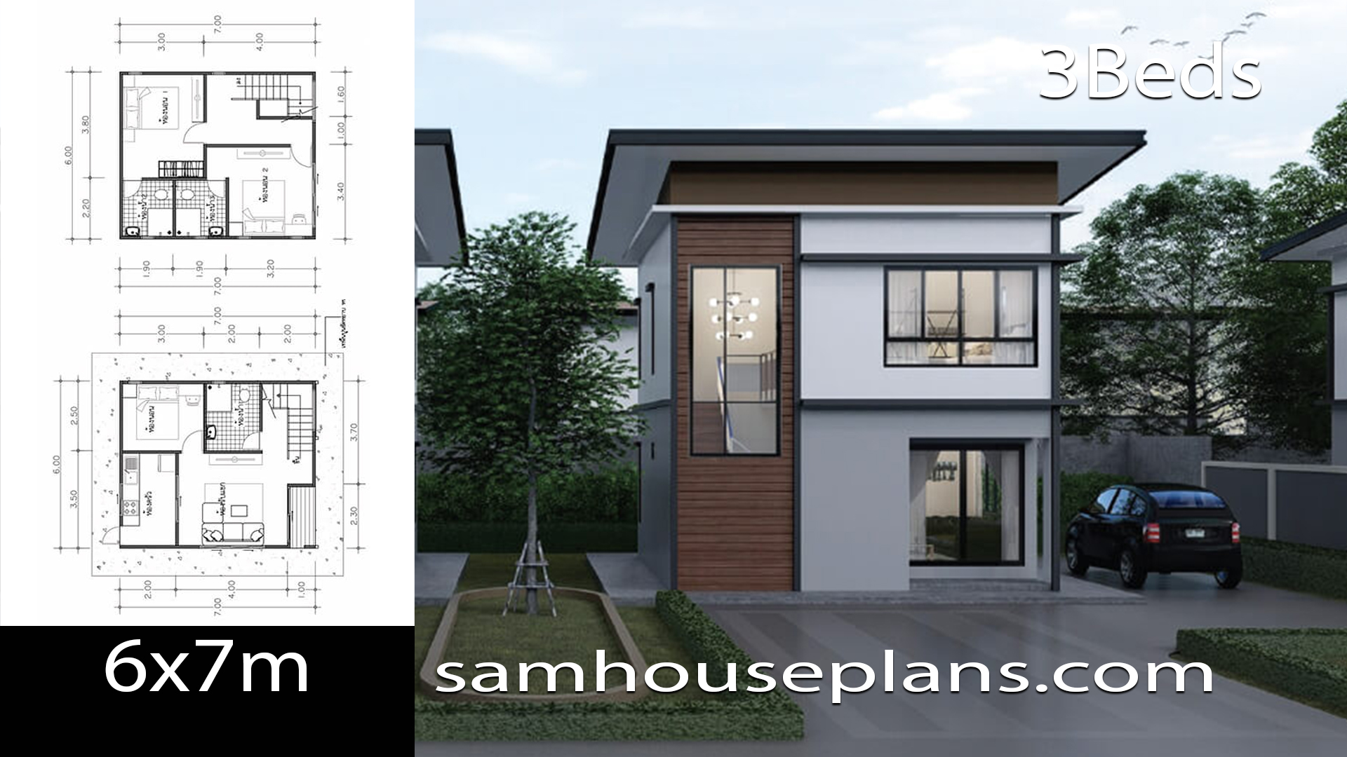 House Plans Idea 6x7 with 3 Bedrooms - SamHousePlans