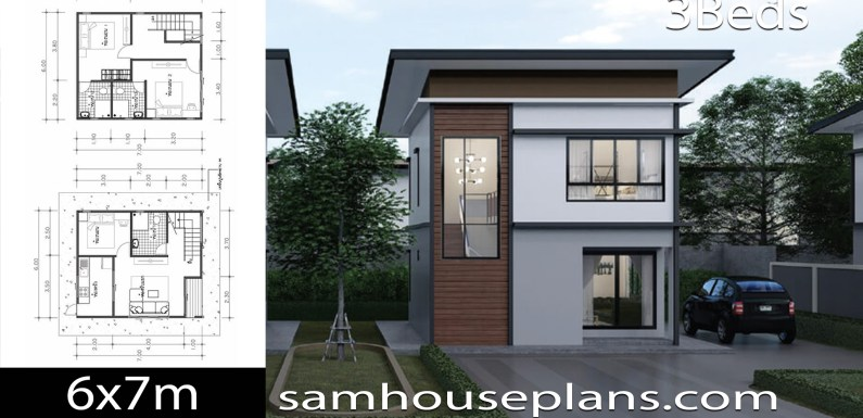 House Plans Idea 6×7 with 3 Bedrooms