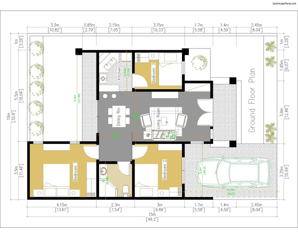 House Plans 10x15 with 3 Bedrooms