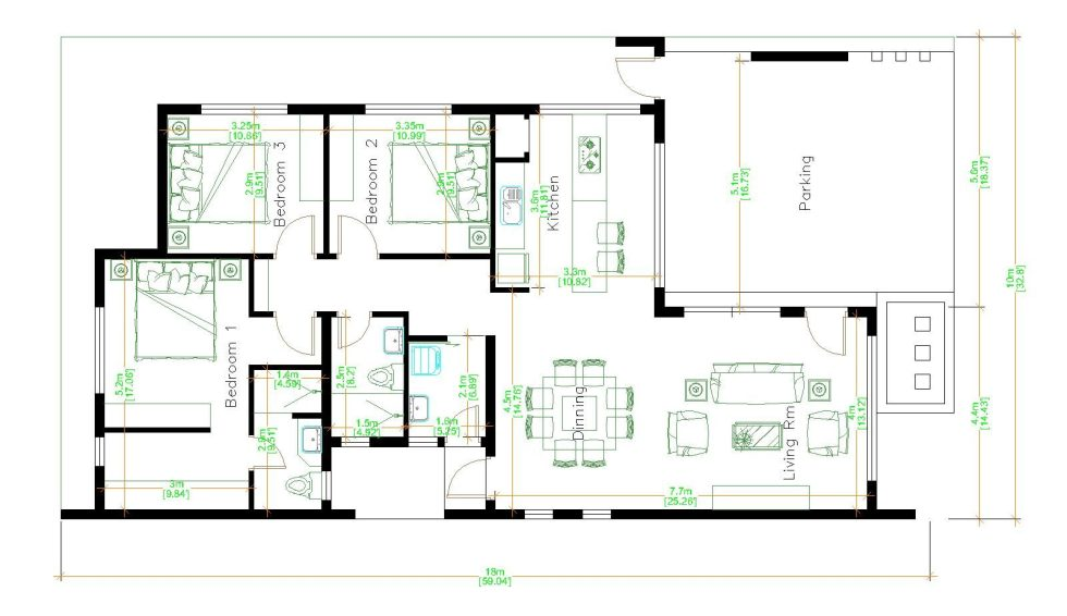 House Design 3d 10x18 Meter 33x59 Feet 3 Bedrooms Terrace Roof floor plan