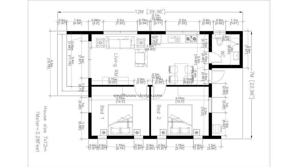 House Design Plans 7x12 with 2 Bedrooms Full Plans floor plan