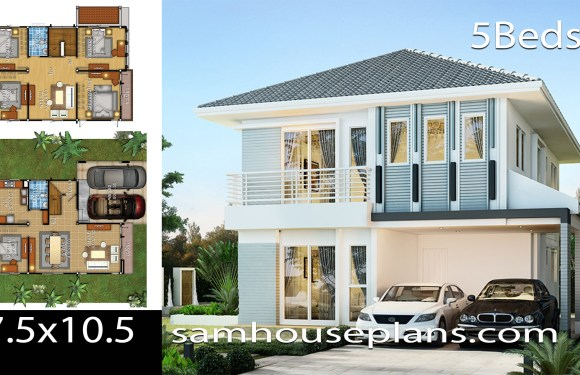 House Idea 7.5×10.5 with 5 bedrooms