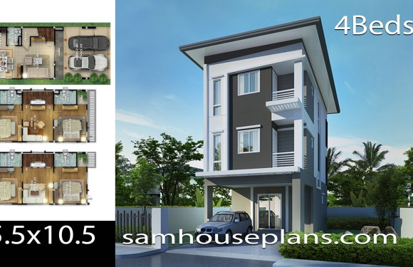 House Plans 5.5×10.5 with 4 bedrooms