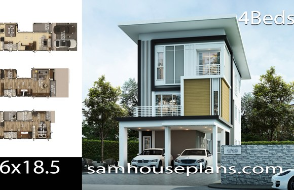 House plans idea 6×18.5 with 4 bedrooms