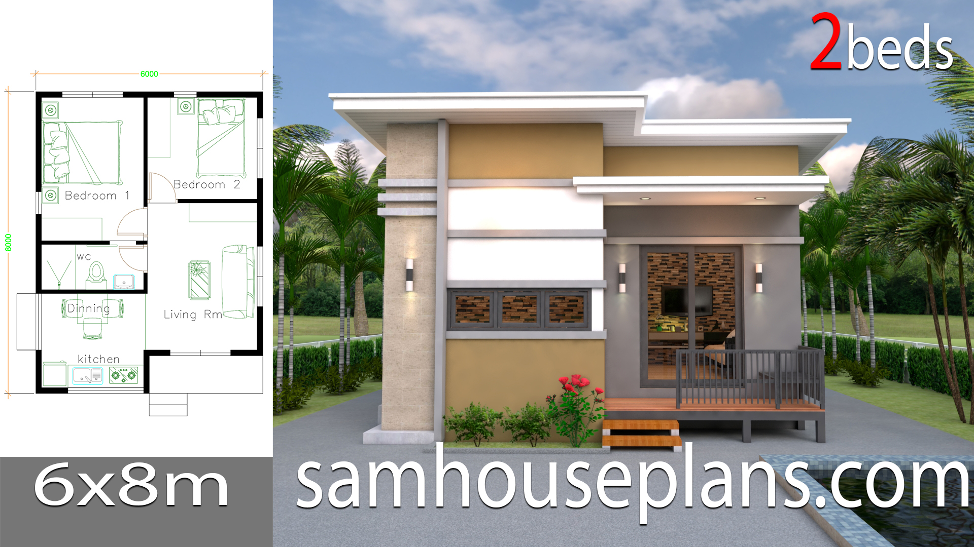 House Design Plans 6x8 with 2 Bedrooms - Sam House Plans on handicapped homes plans, trailer homes plans, wheelchair in your home, wheelchair blueprints,