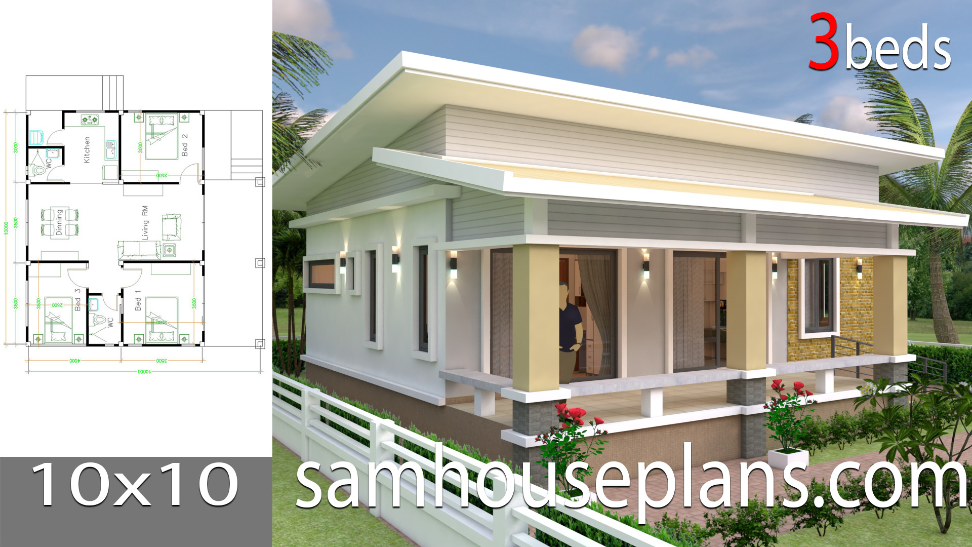 House Plans 10x10 With 3 Bedrooms Full Interior Samhouseplans