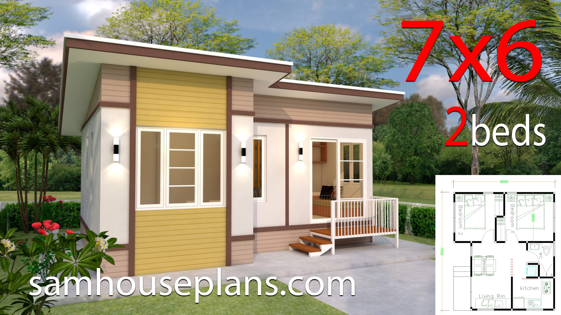 Small House Design 7x6 with 2 Bedrooms - Sam House Plans