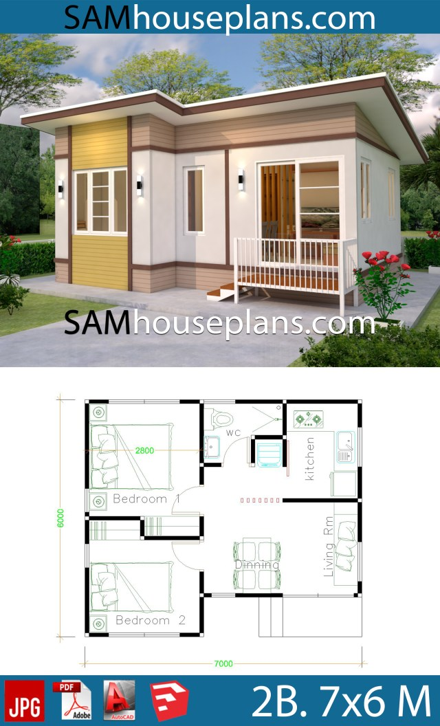 small house design 7x6 with 2 bedrooms  sam house plans