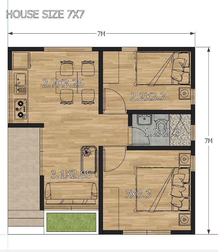 House Design Plans 7x7 With 2 Bedrooms Full Plans Samhouseplans