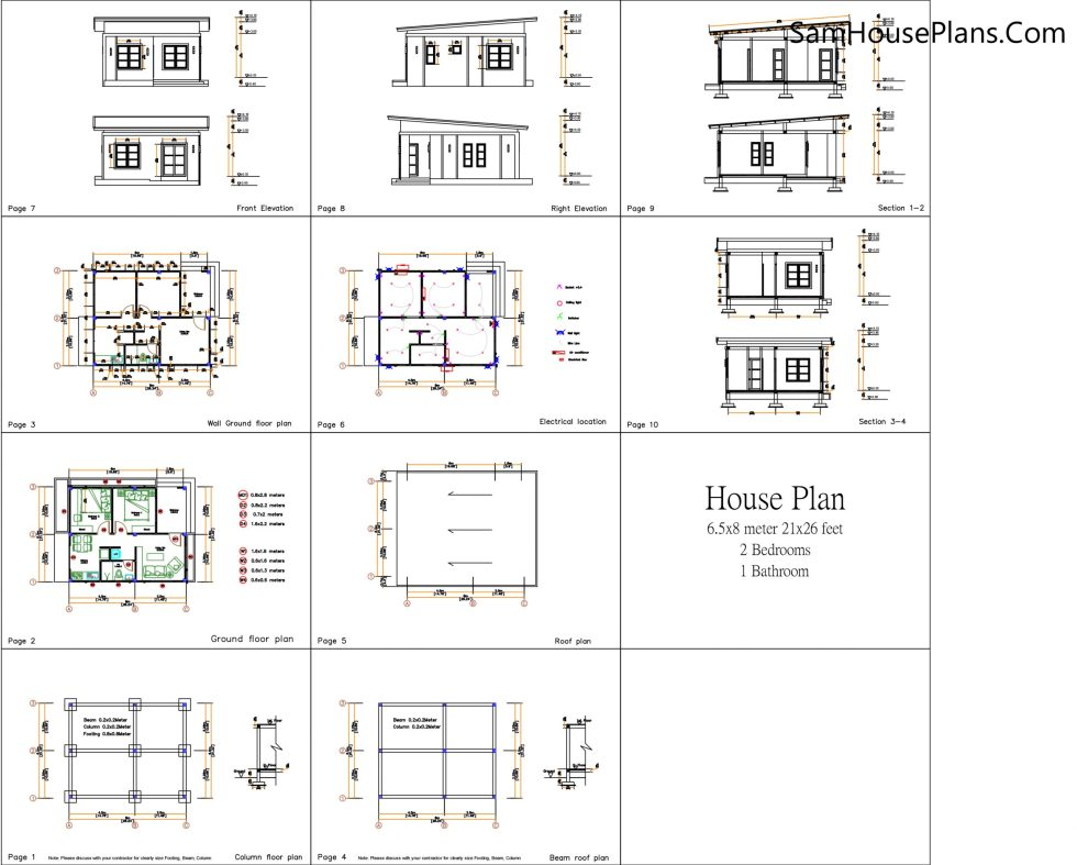 House Design 3d 6.5x8 Meter 21x26 Feet 2 Bedrooms Shed Roof all