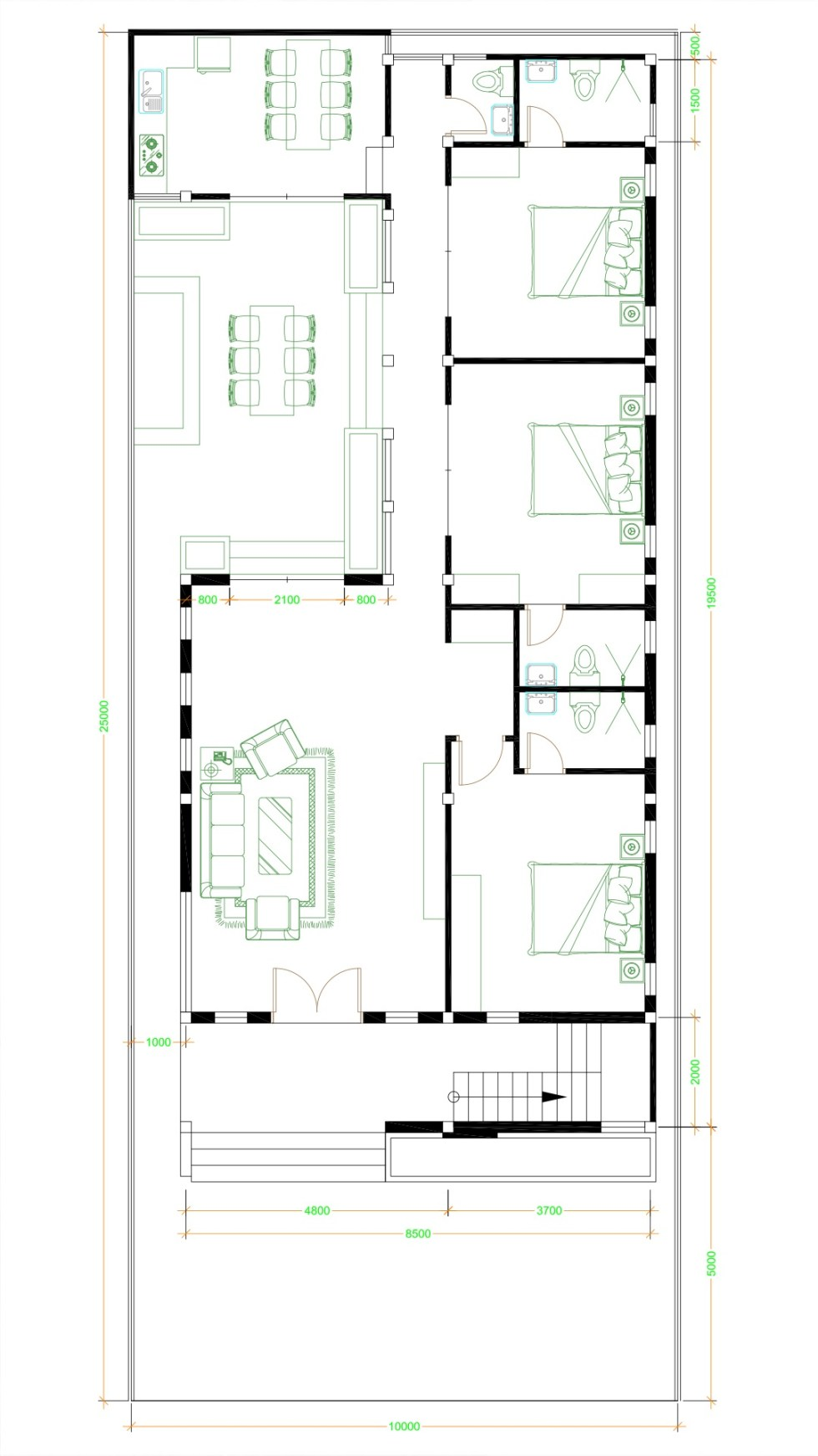 House Design Plans 10x25 with 3 bedrooms