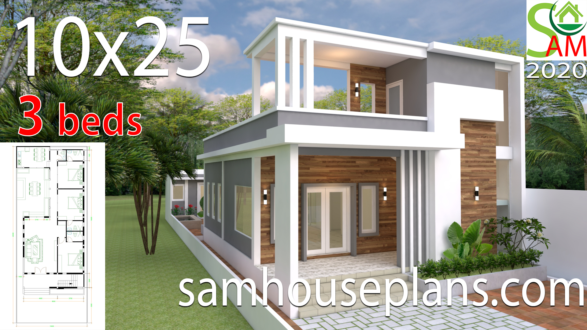 House Design Plans 10x25 with 3 bedrooms - Sam House Plans