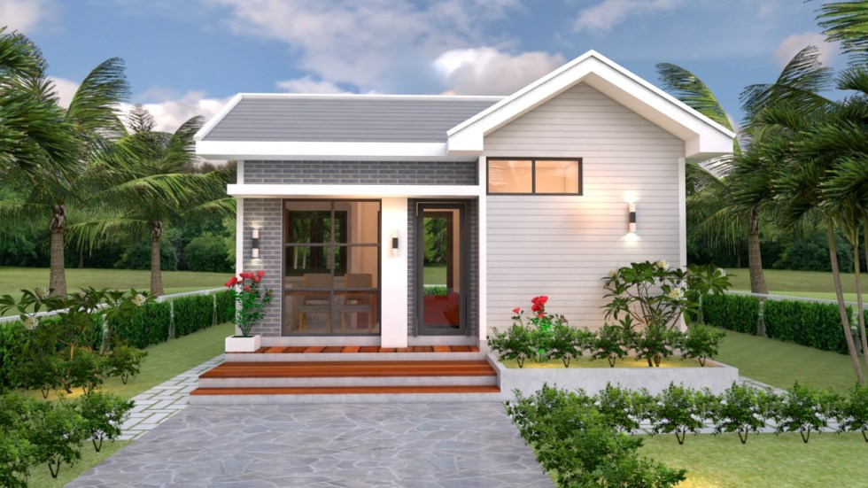 House Design Plans 5x7 with One Bedroom Gable Roof