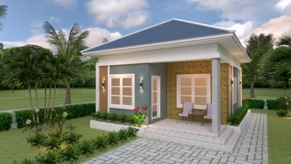 House Design Plans 6.5x8 with 2 Bedrooms Hip Roof 1