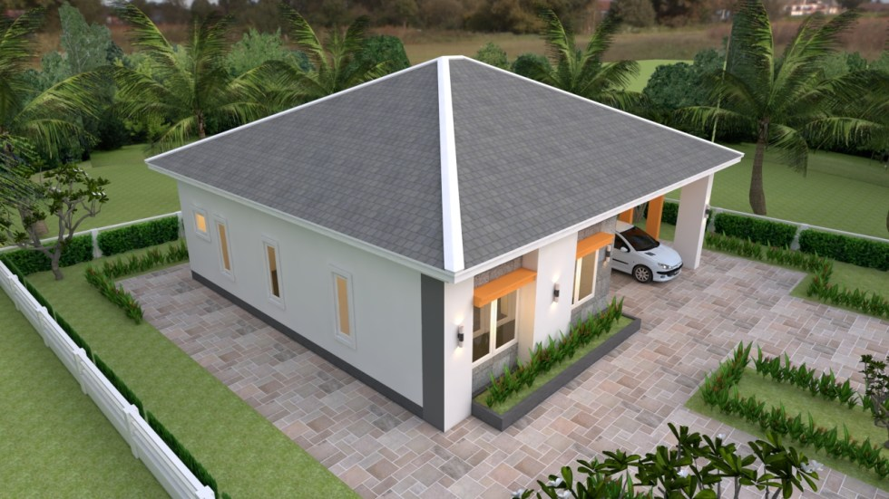 House Plans 12x11 with 3 Bedrooms Hip roof